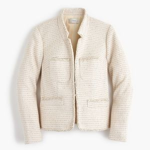 J. Crew Metallic Tweed Jacket Ivory Gold Size 4